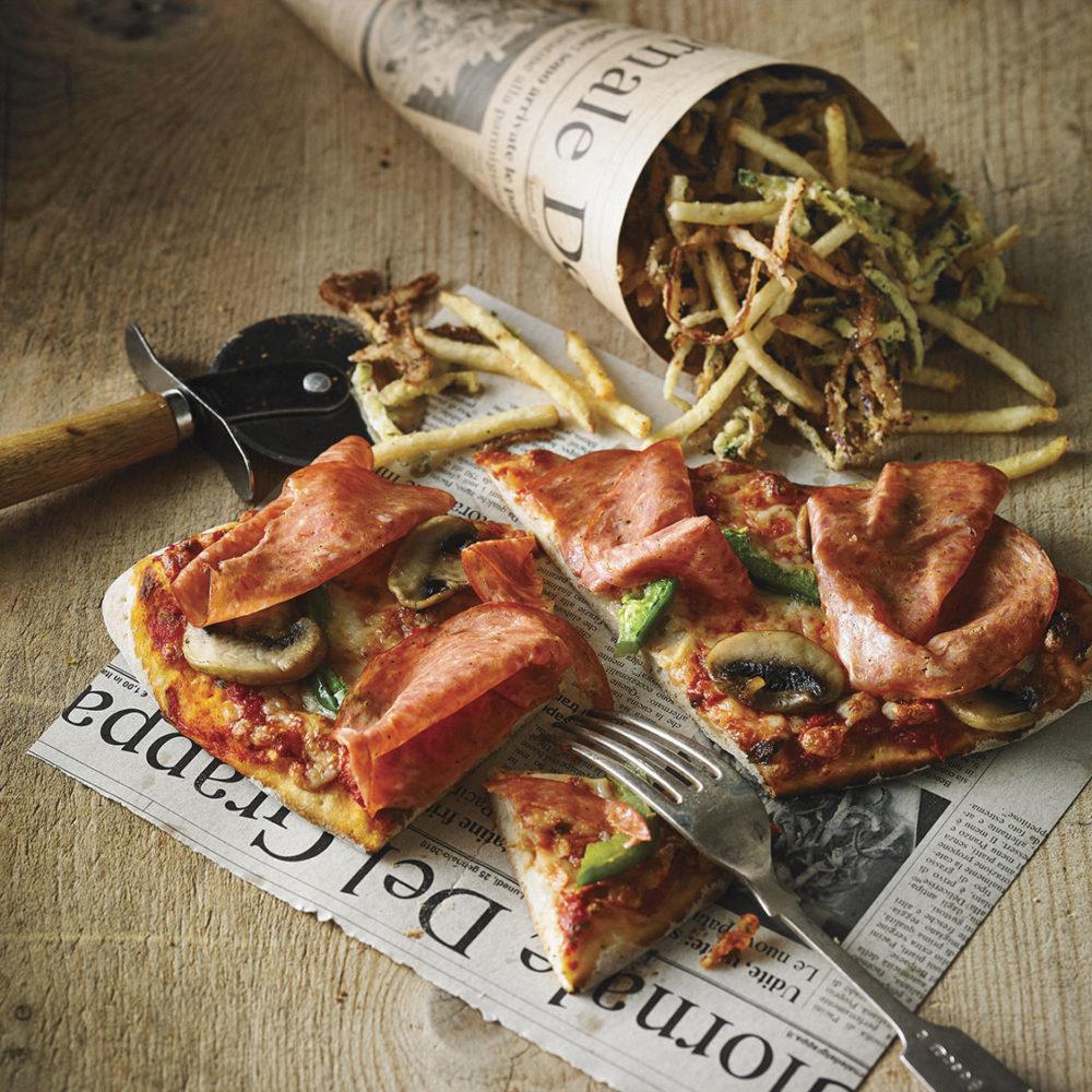 Restaurant Italien Pacini - Duetto pizza americana et frites parmigiana