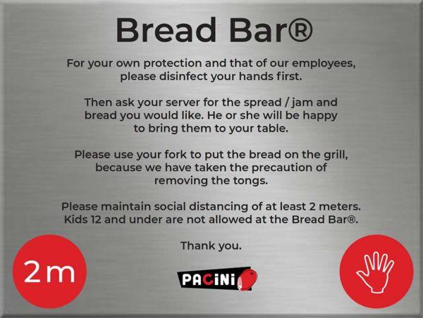 Pacini Italian Restaurant- Sanitary Measures Bread Bar