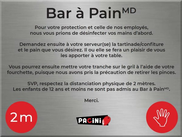 Restaurant italien Pacini - Mesures sanitaires Bar à Pain