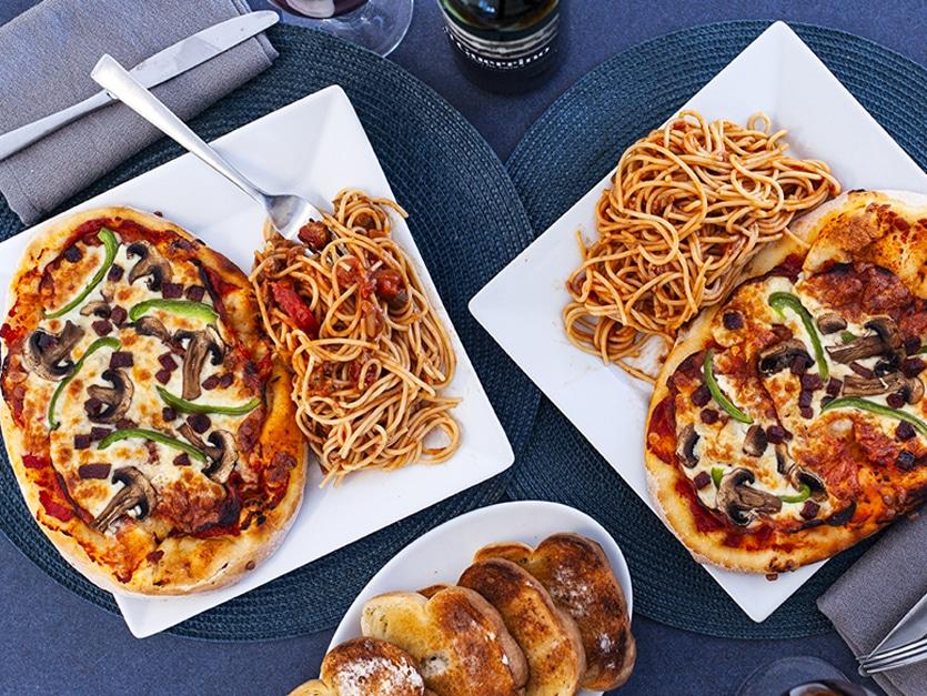 Duetto pizza Americana et spaghetti de Bologne